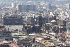 Vogelperspektive von Mexiko- Cityhauptplatz mit Kathedrale Stockbilder