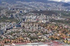 Vogelperspektive von Mexiko- Citysüdbezirken Stockbilder