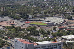Vogelperspektive von Mexiko- Cityuniversität das Olympiastadion Lizenzfreies Stockbild