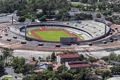 Vogelperspektive von Mexiko- Cityuniversität das Olympiastadion Stockbild