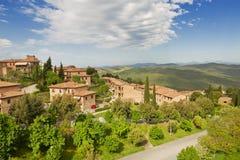 Vogelperspektive von Montalcino, die Stadt von Brunello Wine, stockfotografie