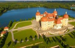 Vogelperspektive von Moritzburg-Schloss, Deutschland lizenzfreies stockfoto