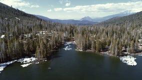 Vogelperspektive von Mt Shasta, Bäume und See stockbilder