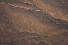 Vogelperspektive von Nazca-Linie, Affe, Peru Lizenzfreies Stockbild