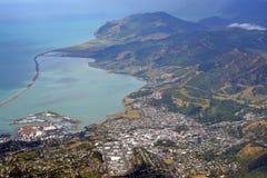 Vogelperspektive von Nelson City u. von Hafen, Neuseeland Lizenzfreie Stockfotos