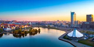 Vogelperspektive von Nemiga, Minsk belarus stockbild