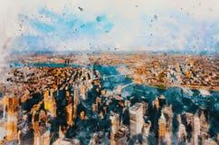 Vogelperspektive von New York City mit Blick auf Hudson River lizenzfreies stockbild