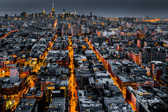 Vogelperspektive von New York City nachts Lizenzfreie Stockbilder
