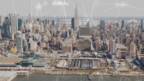 Vogelperspektive von New York mit Datenverbindungen stock abbildung