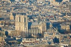 Vogelperspektive von Notre-Dame in Paris lizenzfreies stockfoto