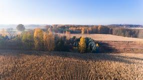 Vogelperspektive von oben genanntem des Maisfeldes nach Ernte, Wald und Ackerland im Herbstsonnenuntergang Lizenzfreies Stockbild