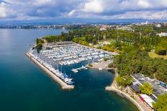 Vogelperspektive von Ouchy-Ufergegend in Lausanne die Schweiz lizenzfreie stockfotografie