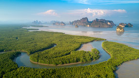 Vogelperspektive von Phangnga-Bucht Stockbilder