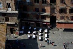 Vogelperspektive von Piazza Del Campo in Siena-Stadt in Toskana, Italien Lizenzfreie Stockfotos