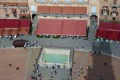 Vogelperspektive von Piazza Del Campo in Siena-Stadt in Toskana, Italien Stockfoto