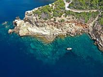 Vogelperspektive von Punta Galera, Ibiza stockbilder