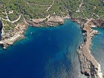 Vogelperspektive von Punta Galera, Ibiza lizenzfreies stockbild