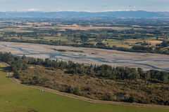 Vogelperspektive von Rakaia-Flussbett Stockfotos