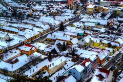 Vogelperspektive von Rasnov-Stadt lizenzfreies stockfoto