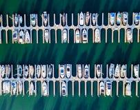 Vogelperspektive von Redwood- Cityhafen Stockfotografie