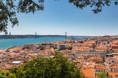 Vogelperspektive von roten Dächern von Alfama und von Fluss der Tajo, Lissabon, Lizenzfreie Stockfotografie