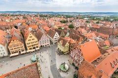 Vogelperspektive von Rothenburg-ob der Tauber stockfoto