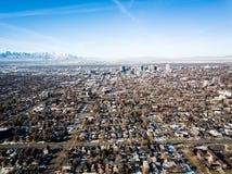 Vogelperspektive von Salt Lake City Utah morgens lizenzfreie stockfotos