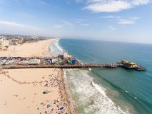 Vogelperspektive von Santa Monica Beach, Kalifornien Lizenzfreie Stockbilder