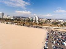 Vogelperspektive von Santa Monica Beach, Kalifornien Stockbild