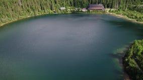Vogelperspektive von See in den Bergen stock video