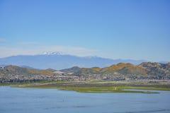 Vogelperspektive von See Elsinore lizenzfreie stockfotos