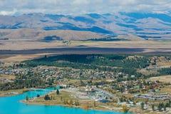 Vogelperspektive von See Tekapo vom Berg John Observatory im Kanter stockfoto