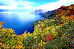 Vogelperspektive von See Towada mit buntem Herbstlaub lizenzfreie stockbilder