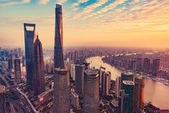 Vogelperspektive von Shanghai-Stadt Stockfotos