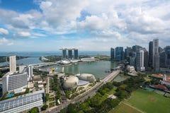 Vogelperspektive von Singapur-Geschäftsgebiet und -stadt mit berühmtem stockbild