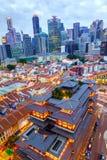 Vogelperspektive von Singapur-Skylinen in Chinatown stockbilder