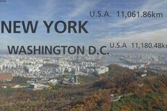 Vogelperspektive von Skylinen Asien - Ansicht Seouls Südkorea vom Seoul-Turmgipfel - der Abstand der Fenstershow nach New York, W Lizenzfreies Stockbild