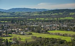 Vogelperspektive von Sonoma-Tal auf Sunny Afternoon stockbild