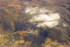Vogelperspektive von Spanien mit Feldern Stockfotografie