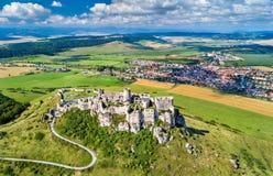 Vogelperspektive von Spissky-hrad oder von Spis-Schloss, ein UNESCO-Bauerbe in Slowakei lizenzfreie stockfotos