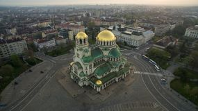 Vogelperspektive von St. Alexander Nevsky Cathedral, Sofia, Bulgarien stockfotografie