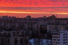 Vogelperspektive von St Petersburg bei Sonnenuntergang Stockfoto