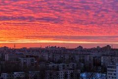 Vogelperspektive von St Petersburg bei Sonnenuntergang Stockbilder