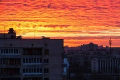 Vogelperspektive von St Petersburg bei Sonnenuntergang Lizenzfreie Stockbilder