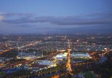 Vogelperspektive von Stadien, Melbourne Stockbilder