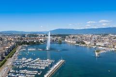 Vogelperspektive von Stadt Leman Genfersee in der Schweiz Lizenzfreie Stockfotografie