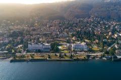 Vogelperspektive von Stresa auf See Maggiore, Italien Lizenzfreie Stockfotos