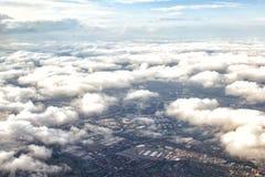 Vogelperspektive von Sydney, Australien, Foto gemacht kurz vor landin Stockfotografie