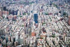 Vogelperspektive von Taipeh-Stadt Stockfotografie