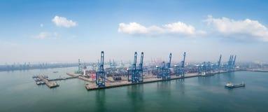 Vogelperspektive von Tianjin-Hafen stockfotografie